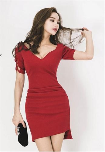 0c09abee135f Buy Crystal Korea Fashion Slim V-neck Sexy Dress Online on ZALORA ...