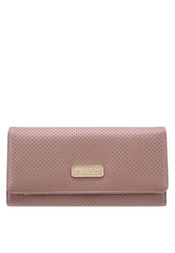 Unisa purple Saffiano Perforated Facile Tri-Fold Ladies Wallet 3516DACDDAF31AGS_1