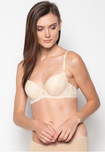 Barbizon brown Classic Beauty Full Cup Jacquard Padded Bra AC4F4US5D7363FGS_1