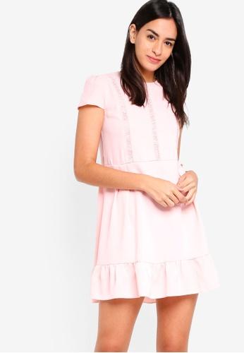 ZALORA pink Gathered Swing Dress With Trims 1F8C5AA57103FBGS_1