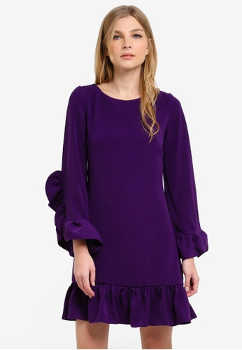 CLOSET purple Frill Hem & Cuff Tunic Dress CL919AA0S6GIMY_1