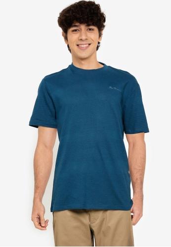 Ben Sherman blue Textured Tee 58717AA99F9C36GS_1