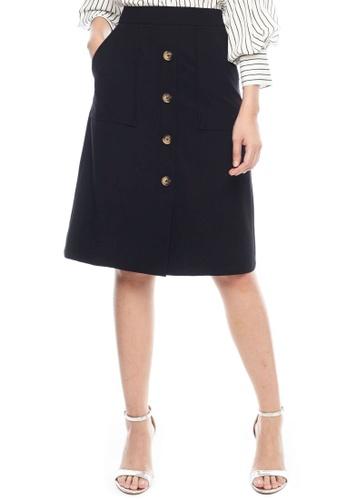 Nichii black Buttoned Down Midi Skirt 32D1CAA3E59DF7GS_1