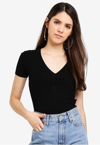 Cotton On black Quinny Short Sleeve Ruched Front Pullover 34155AA316B547GS_1