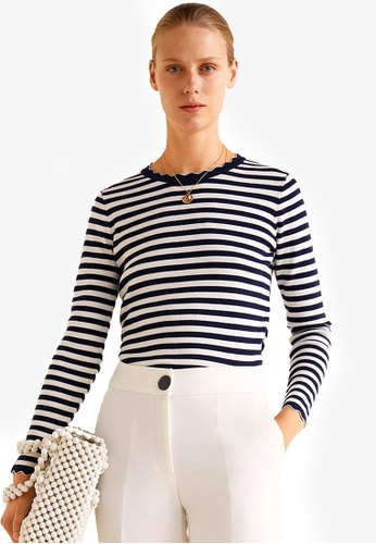 Mango blue and multi and navy Knit Striped Sweater 11581AA8E41940GS_1