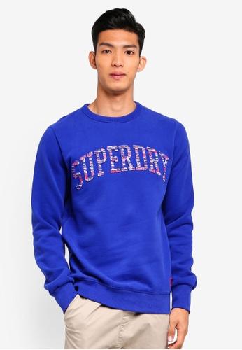 Superdry blue Varsity Embossed Crew Sweatshirt C082DAADAFDFF7GS_1