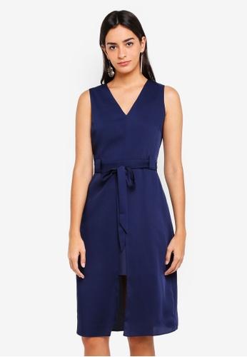ZALORA navy Tie Waist Midi Dress FD1DDAAF244C82GS_1
