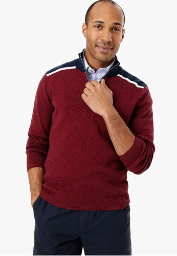 MARKS & SPENCER red Pure Cotton Half Zip Jumper 1161DAAE08EB8AGS_1