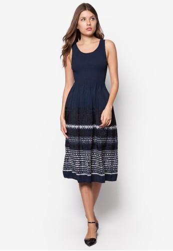 褶飾印zalora 心得花背心洋裝, 服飾, 服飾