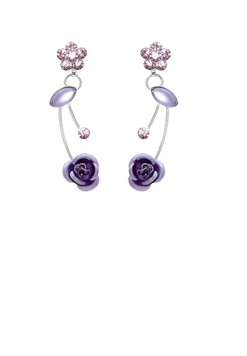 Glamorousky purple Elegant Purple Rose Earrings with Purple Austrian Element Crystals and Crystal Glass BC246AC07E5581GS_1