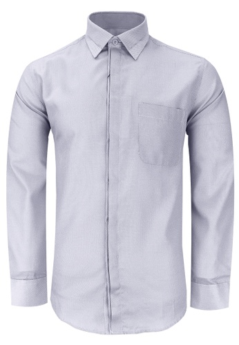 Pacolino grey and white Casual Smart Long Sleeve Men Shirt BAEF4AAB55FD29GS_1