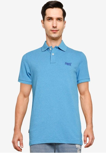 Superdry blue Classic Pique Short Sleeve Polo Shirt - Vintage Logo Emblem 26408AA958F371GS_1