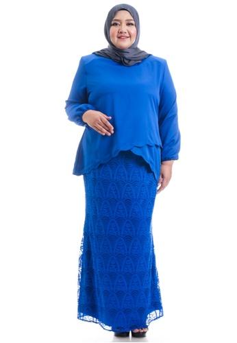 Ashura blue Naresha Kurung With Layered Scallop Plus Size 464C2AA8D712B8GS_1