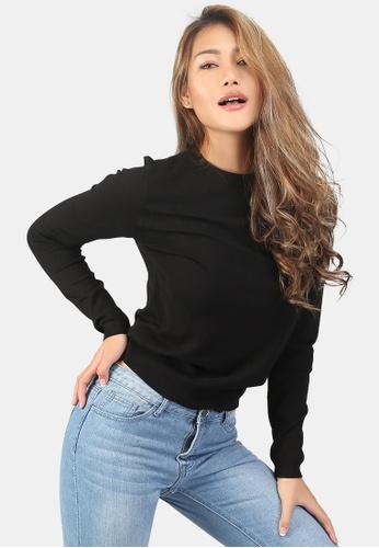London Rag black Fine Knit Solid Sweater 7913DAABCA00C3GS_1