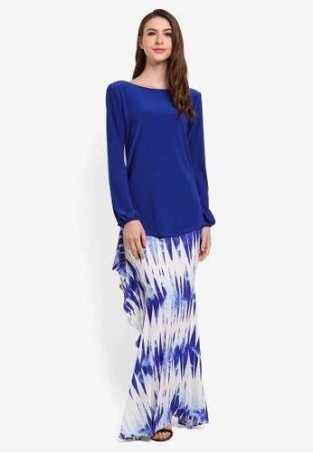 Zuco Fashion blue Mini Kurung High-Low Ruffles 7057FAAF5A5328GS_1