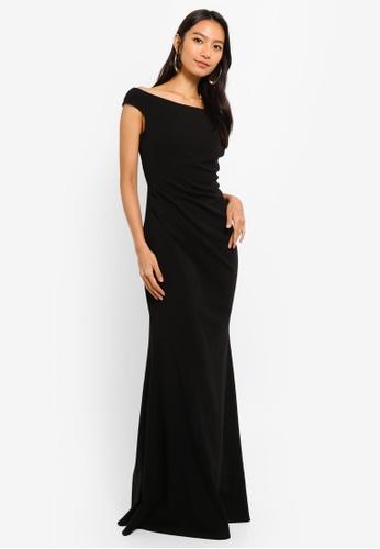 Goddiva black Fishtail Maxi Dress With Pleating Detail 5FFD1AAAE957ECGS_1