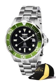 Pro Diver Men 47mm Case Stainless Steel Strap Watch 3047 & FREE Baseball Cap