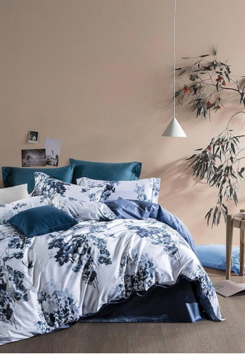 MOCOF white and blue and multi Tencel Printed AILE Duvet Cover Set 1200TC 2031FHL551154BGS_1