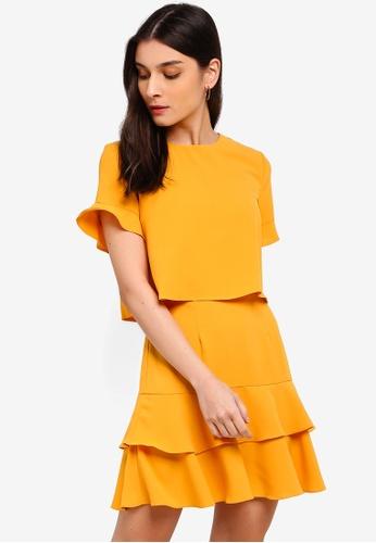 ZALORA yellow Fit And Flare Layered Dress 39FCFAAC098156GS_1