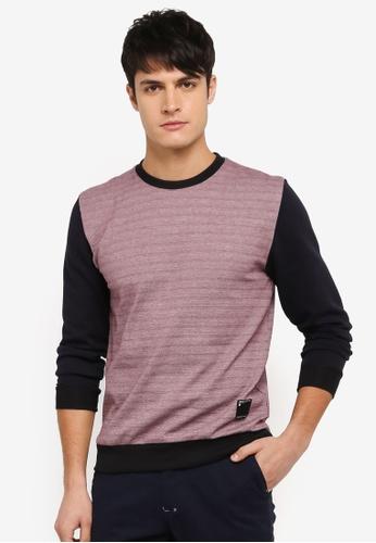 UniqTee red Contrast Sleeve Sweatshirt UN097AA0SYU5MY_1