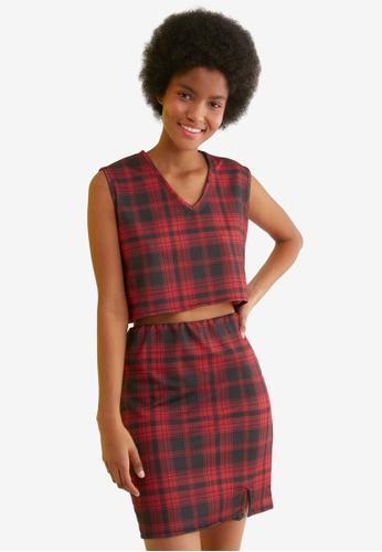 Trendyol red and multi Plaid Top & Skirt Set F9ECAAA2696C7EGS_1