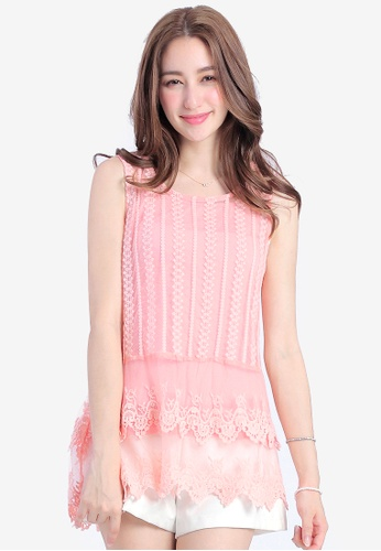 Yoco pink Double Layer Top with Lace 50F87AA2845297GS_1