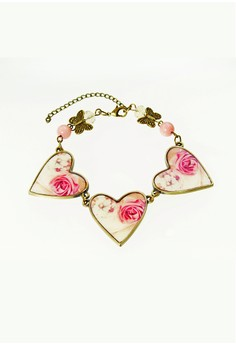 WLB011 Women's Bracelet with Heart-Shaped Butterfly and Flowers Print
