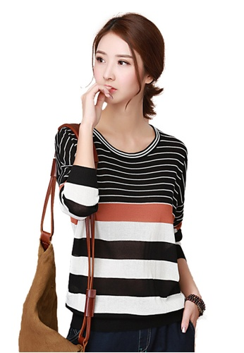 A-IN GIRLS multi New Round Neck Stripes Hit Color Sweater E0CD2AAEB3DAB0GS_1