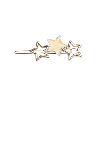 Glamorousky silver Simple Temperament Plated Gold Yellow Star Hair Clip 91DD5AC70A910AGS_1