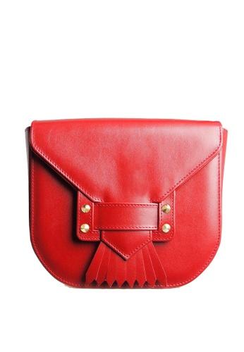 72 SMALLDIVE red 72 Smalldive Women Dovetail Fringe Leather Crossbody Handbag In Red 519FEACFA24654GS_1