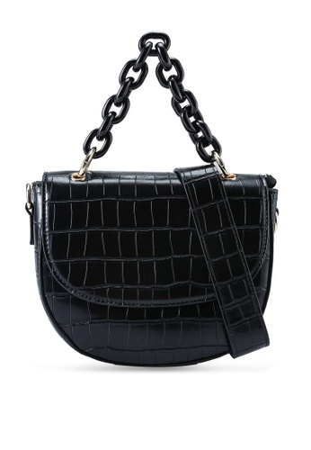 Red's Revenge black Cara Croc Chain Link Top Handle Bag A9E0CACD0D8243GS_1