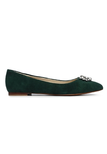 Byford green Larch Pointed Toe Suede Flats A90B7SH0717BEEGS_1