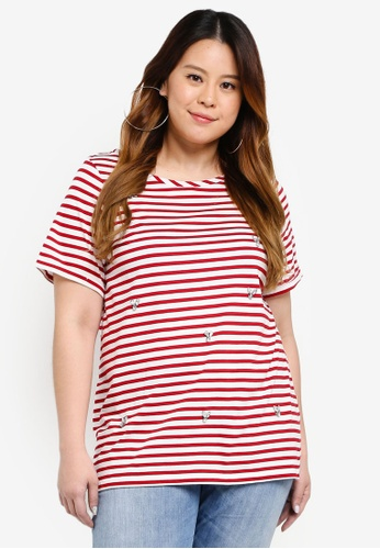 Dorothy Perkins red Plus Size Red Stripe Embellished Tee B6218AA15F357BGS_1