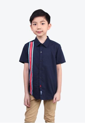 SODA blue One Sided Colored Panel Boy Shirt 1463EKA9C16E1BGS_1