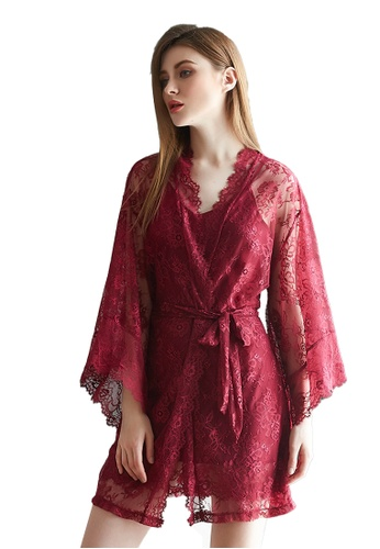 LYCKA red LMX1053-Lady Lace Pajamas Two Pieces Set-Red CB31EAAE31A48CGS_1