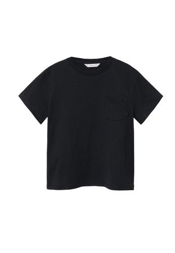 MANGO KIDS black Organic Cotton Pocket T-Shirt DAD55KA922CADCGS_1