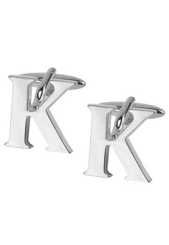 CUFF IT silver Initial Alphabet K Cufflinks CU047AC2VHEMHK_1