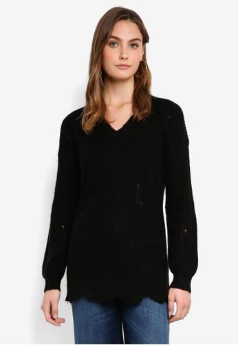 Sisley black V Neck Knitted Sweater DEBF6AABDA3B5EGS_1