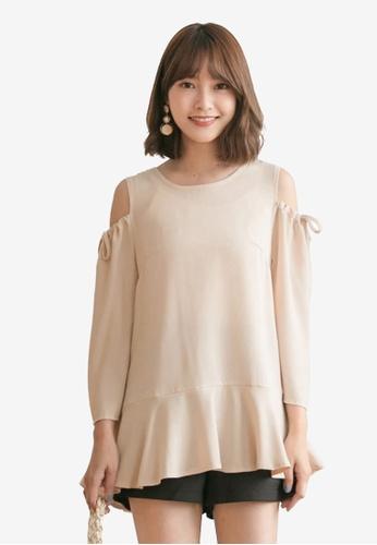 Tokichoi beige Tie Open Shoulder Top 3CAB1AA2B23951GS_1