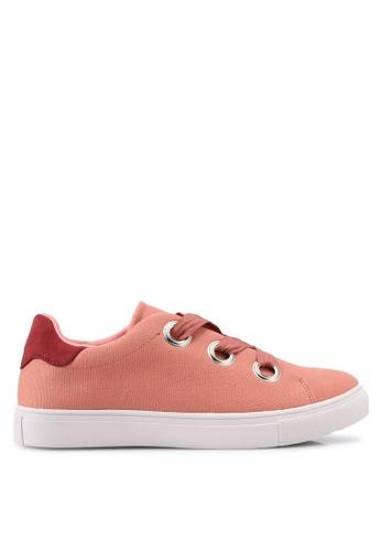 ZALORA pink Oversize Eyelet Lace Up Sneakers 6ABD9SH0539E39GS_1