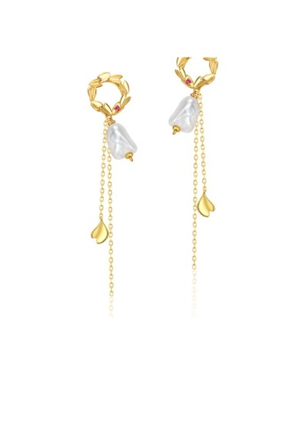 SUNSET gold Premium 925 Sliver Pearl Earring 7CDDAAC17C29A7GS_1