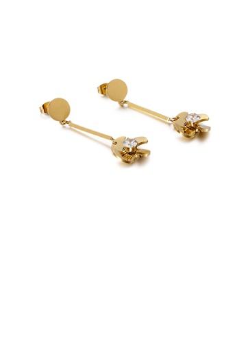 Glamorousky 白色 時尚簡約鍍金色花朵風車316L鋼耳環配鋯石 31CFAAC0459DFFGS_1