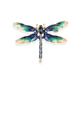Glamorousky blue Fashion and Elegant Plated Gold Green Dragonfly Brooch with Cubic Zirconia EC8D1AC9E859EDGS_1