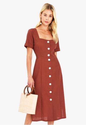 FORCAST brown Iris Linen Button Up Dress E04FBAAB09AEA2GS_1