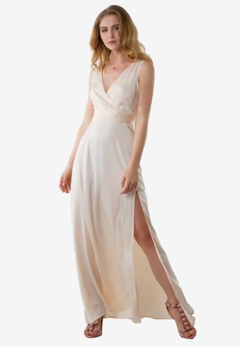 NOBASIC beige Backless Satin Maxi Dress NO444AA0FUUOSG_1