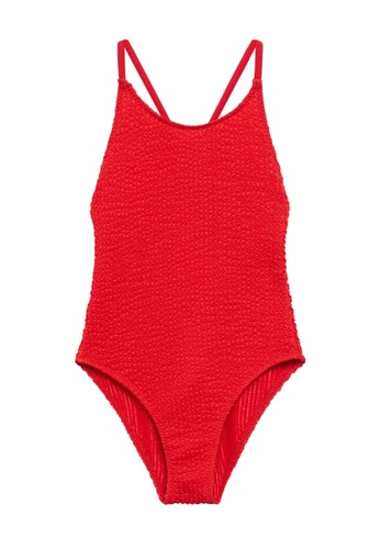 MANGO KIDS red Wrap-Back Textured Swimsuit DB26BKA8E44666GS_1
