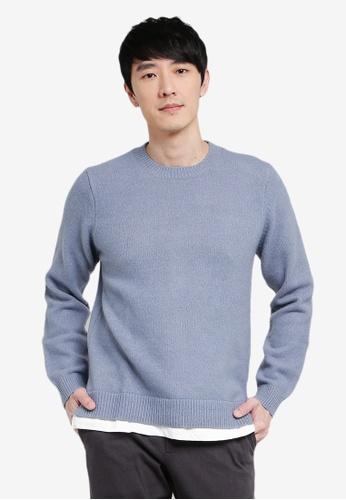 GLOBAL WORK blue Casual Knit Sweater 9BDBAAA5780F6DGS_1