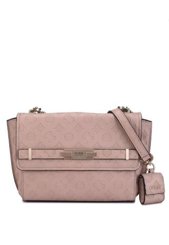 GUESS brown Bea Convertible Crossbody Flap Bag B1AC8AC0C9AA4DGS_1