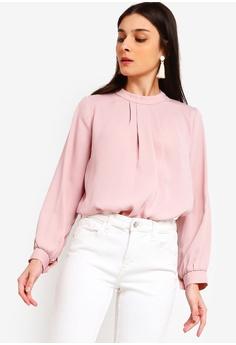 14b0d869e916a1 ZALORA pink High Neck Long Sleeves Top E5464AABA57860GS 1
