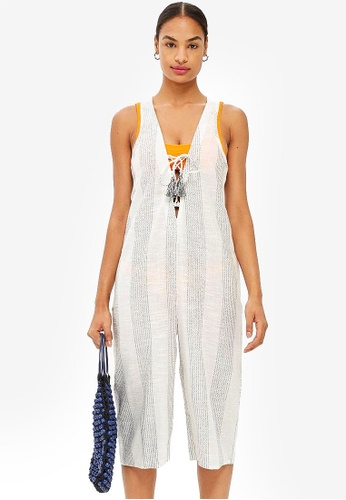 TOPSHOP multi Striped Lace Up Jumpsuit 415E0AA12B15FEGS_1